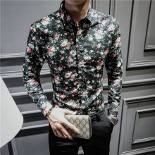 [PRE-ORDER] Men's Long-sleeved Floral Printing Fashion Korean Shirt