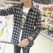 [PRE-ORDER] Men's Plaid Long-sleeved Student Slim Shirt