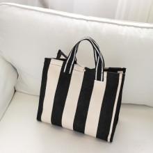 [PRE-ORDER] Women Canvas Shopping Striped Waterproof Handbag Shoulder Bag