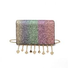 [PRE-ORDER] Women Sequin Small Square Mini Chain Shinny Sling Bag