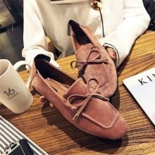 [PRE-ORDER] Women Soft Sole Comfortable Bow Scrub Flat Peas Shoes