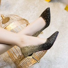 [PRE-ORDER] Women High-heeled Pointed Sequins Bridal Wedding Shoes