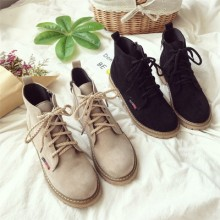 [PRE-ORDER] Women Martin Retro Leather Flat-bottomed Lacing Up Ankle Boots