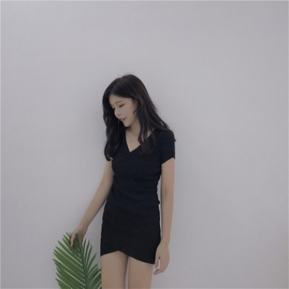 Women Retro Temperament V-cross Slim Short-sleeved Dress