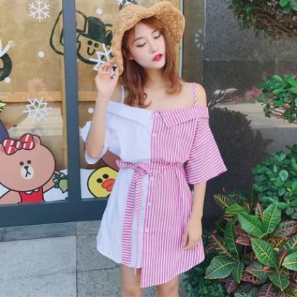 Women Korean Sexy Open-collar Color Strap Short-sleeved Striped Dress