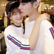 Men's Lovers Couple Korean Short-sleeved Shoulder Stripe T-shirt