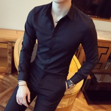 [PRE-ORDER] Men's Collar Long-sleeved Pure Slim Round Neck Shirt