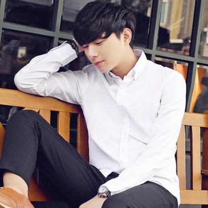 Men's White Shirt Korean Slim-Fit Formal Shirt