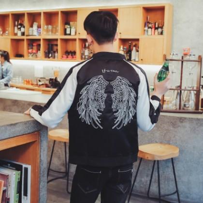 Men's Pilots Baseball Embroidery Coat Motor Bomber Jacket