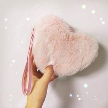 [PRE-ORDER] Women Plush Girl Pink Heart Lovely Love Clutch Purse