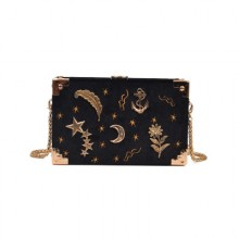 [PRE-ORDER] Women Velvet Korea Embroidered Stars Universe Sling Bag