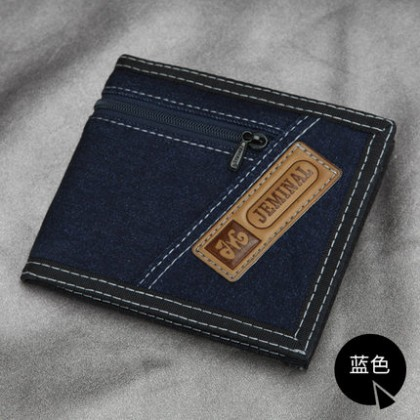 Men Zipper Denim Folded Money Wallet Clip