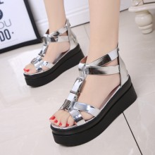 [PRE-ORDER] Women Muffin Bottom Waterproof High-heeled Sandals Shoes