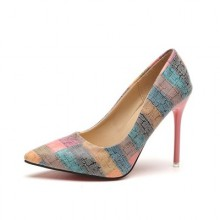[PRE-ORDER] Women Plus Size Pointed Head Shallow Color Stripe High Heels