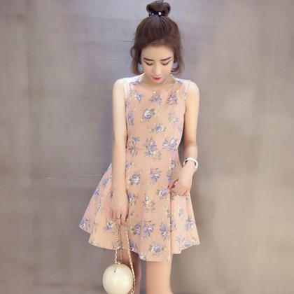 Rounded Neck Flower Vintage Sleeveless A Shape Dress