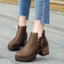 [PRE-ORDER] Women Zipper Boots Martin Ankle High Heels Boots