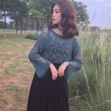 Women Spring Retro Trumpet Sleeve Knitted Blouse