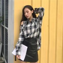 [PRE-ORDER] Women Retro Lattice Loose Long-sleeved Shirt