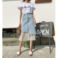 [PRE-ORDER] Women Mesh Yarn Mosaic High Waist Cowboy Denim A Shape Skirt
