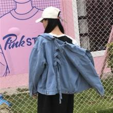 [PRE-ORDER] Women Loose Denim Back Lace Ribbon Cowboy Jacket