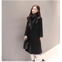 [PRE-ORDER] Women England Plain Windbreaker Woolen Long Jacket Coat