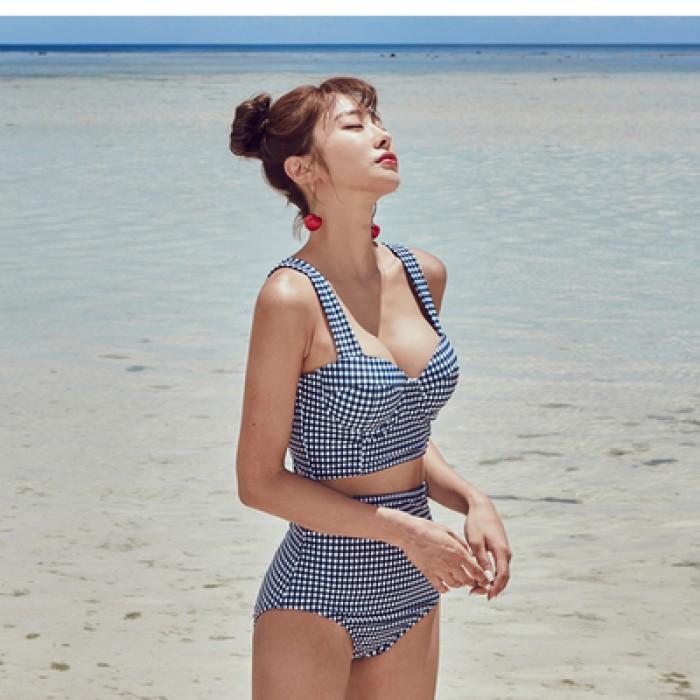 Women Korea Bikini Two Pieces Grid High Waist Swimsuit