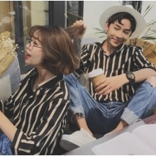 [PRE-ORDER] Men's Couple Women Lovers Stripes Long Sleeve Shirt