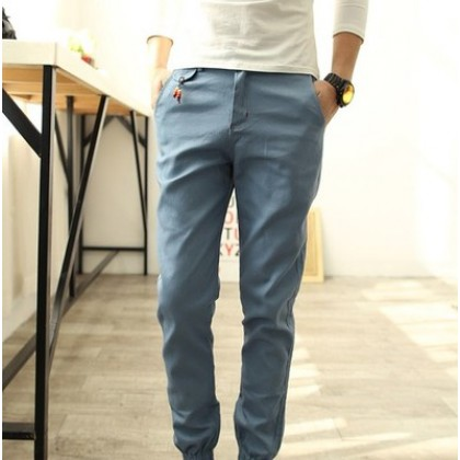 Men's Casual Elastic Rubber Trousers Long Pants