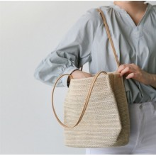 [PRE-ORDER] Women Leisure Woven Shoulder Bucket Big Capacity Bag