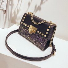[PRE-ORDER] Women Sequin Rivet Chain Small Square Shoulder Messenger Bag