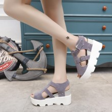 [PRE-ORDER] Women Muffin Platform Slope Thick Bottom Fish Mouth Sandals