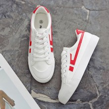 [PRE-ORDER] Women Canvas Lacing Up Casual White Retro Sneakers