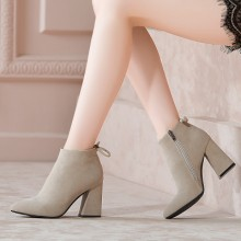 [PRE-ORDER] Women Pointed Head Thick Heels Martin Scrub Ankle Boots