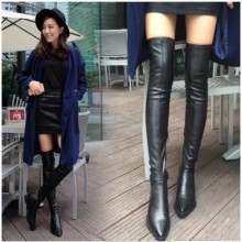 [PRE-ORDER] Women Knee Winter Flat Bottom Pointed High-elastic Boots