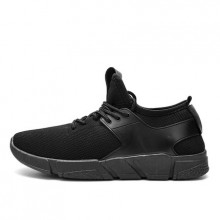[PRE-ORDER] Men Korean Pure Black Casual Comfortable Running Sport Shoes