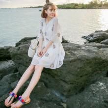[PRE-ORDER] Women Thai Embroidery Floral Chiffon Beach Seaside Dress
