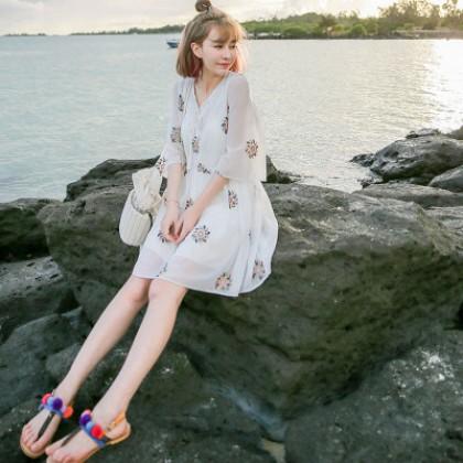 Women Thai Embroidery Floral Chiffon Beach Seaside Dress