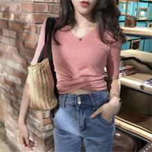 [PRE-ORDER] Women Short-sleeved Sexy Tight Slim V Neck T-Shirt