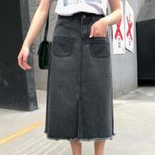 [PRE-ORDER] Women XL High Waist Slim Cowboy Denim Long Straight Skirt