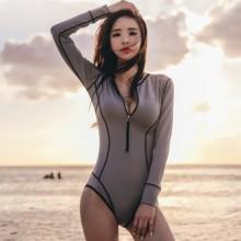 [PRE-ORDER] Women XL Zipped One-piece Swimsuit Gray Long Sleeve Swimsuit