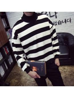 [PRE-ORDER] Men's Cashmere Turtleneck Loose Striped T-Shirt Sweater