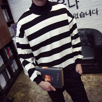 Men's Cashmere Turtleneck Loose Striped T-Shirt Sweater