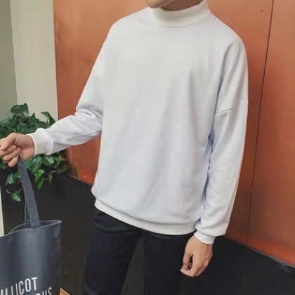 Men's Plain Color Loose Turtleneck Turtleneck Sweater