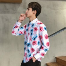 [PRE-ORDER] Men's Hong Kong Long-sleeved Slim Casual Flora Printing Shirt