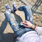 [PRE-ORDER] Men's Korean Color Ripped Denim Jean Long Pants Trousers