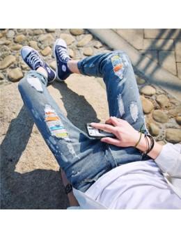 [PRE-ORDER] Men's Korean Color Ripped Denim Jean Long Pants Trousers