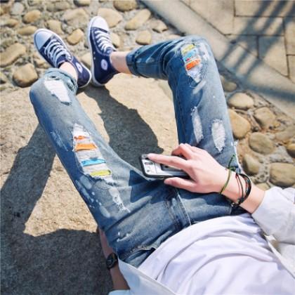 Men's Korean Color Ripped Denim Jean Long Pants Trousers