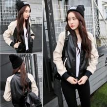 Korean Leather Black Cool Long Sleeve Jacket