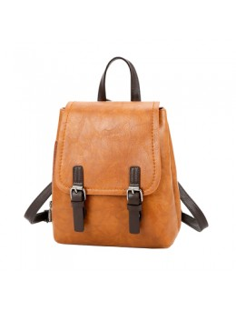 [PRE-ORDER] Women Retro Soft PU Leather Buckle Casual Backpack