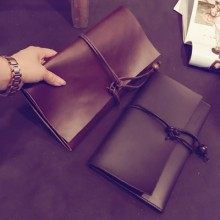 Men Retro Clutch Drawstring Folding Clutch Bag Casual Hand Bag